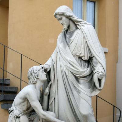 "image: Sculpture ""Jesus healing blind Bartimaeus"" by Johann Heinrich Stöver, 1861. St John's Church, Erbach, Rheingau, Hesse, Germany,  wikimedia"