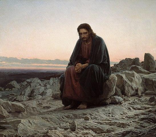 "image: ""Christ in the Wilderness"" by Ivan Kramskoi ( wikimedia )"