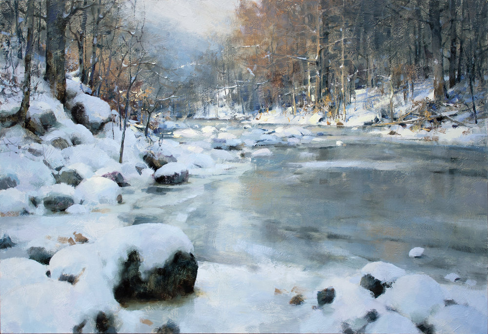 """""""An Early Freeze"""" 24x36 Oil On Panel (Finished In The Studio)"""
