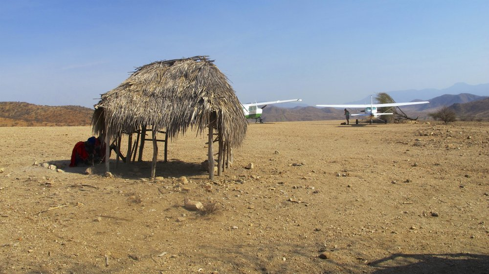Hot, hot HOT airstrip in the remote norther region of Kenya