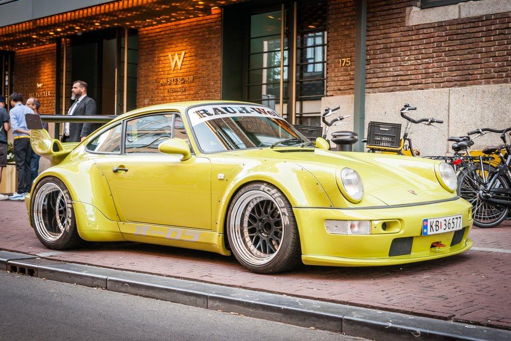 RWB Porsche 964 in front of Hotel W Amsterdam