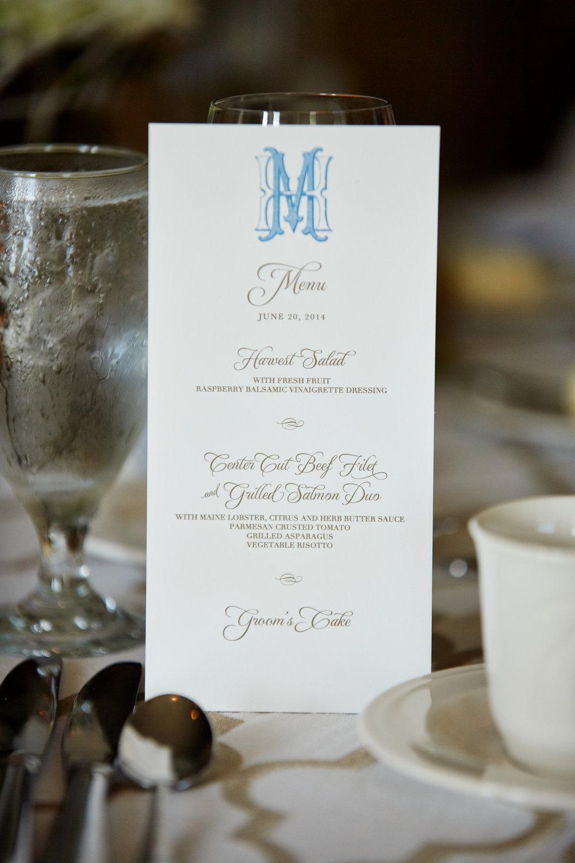 monogrammed menu