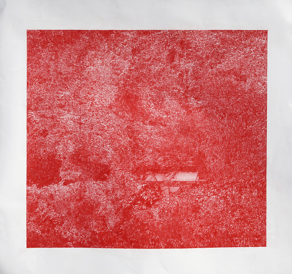 Red 4 (The Village)     colored pencil  on paper    44 x 41 inches    2016