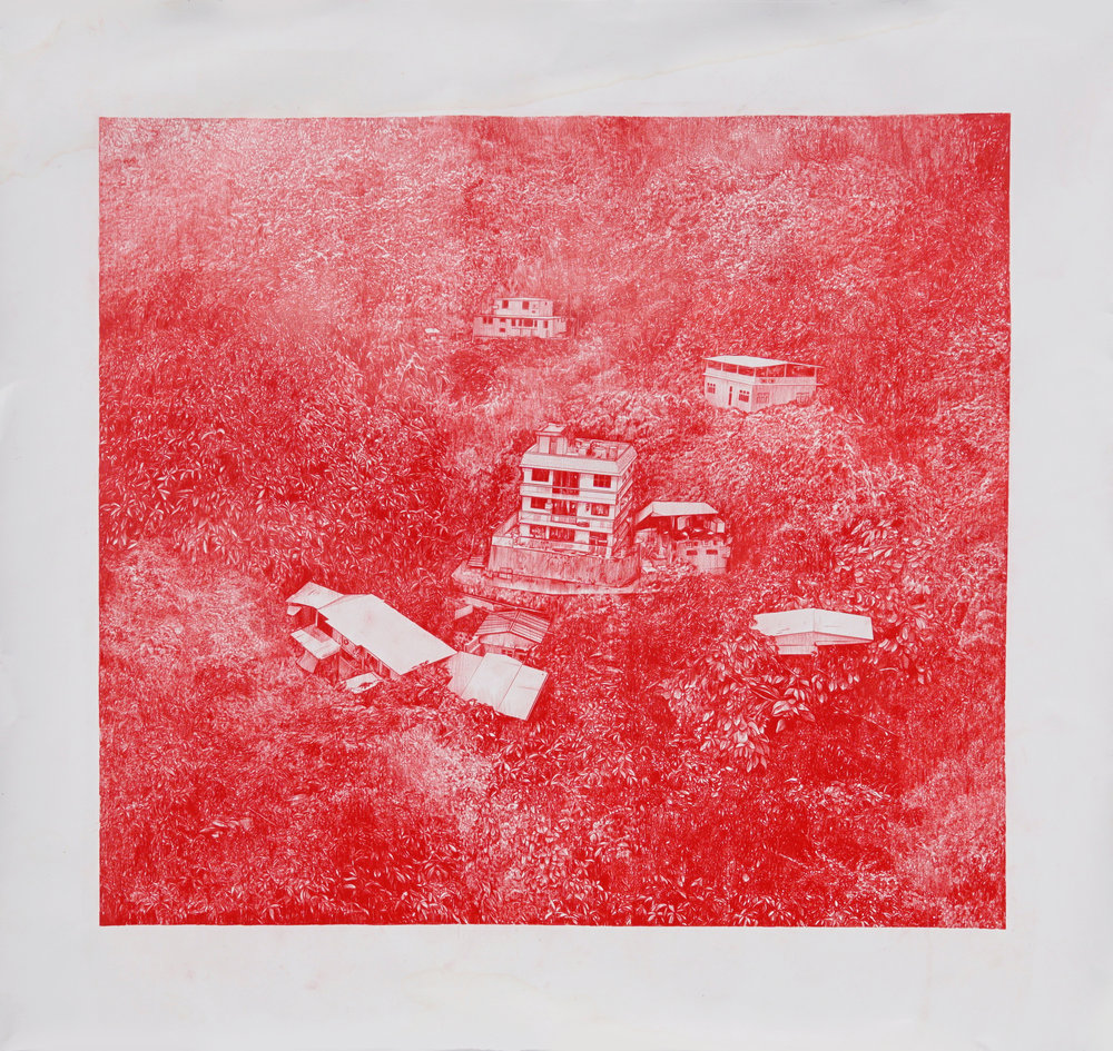 Red 5 (The Village 2)     colored pencil  on paper    44 x 41 inches    2017