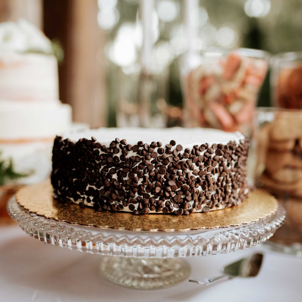 Chocolate Chip cake at the Judd and Mary Grace Kennedy Wedding.