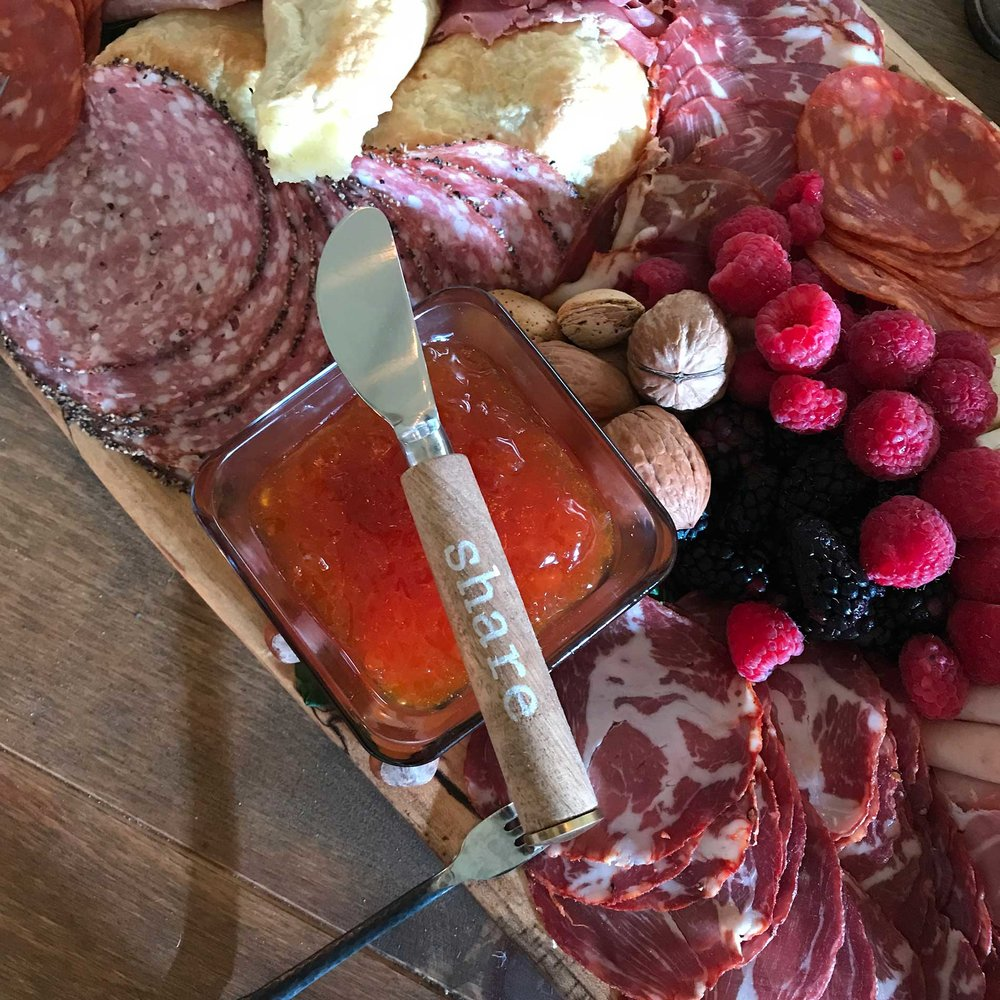 Charcuterie up close at the Pearls to Pluff Mud Event at Swamp Fox Farms in Hardeeville, SC.
