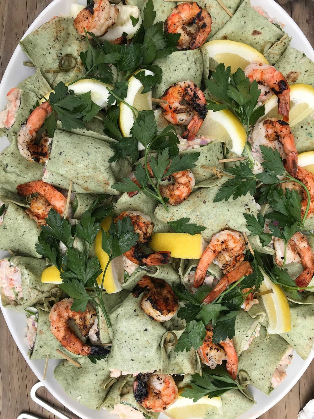 Shrimp Salad wraps, waterfront at an Oyster Roast on Page Island, SC.