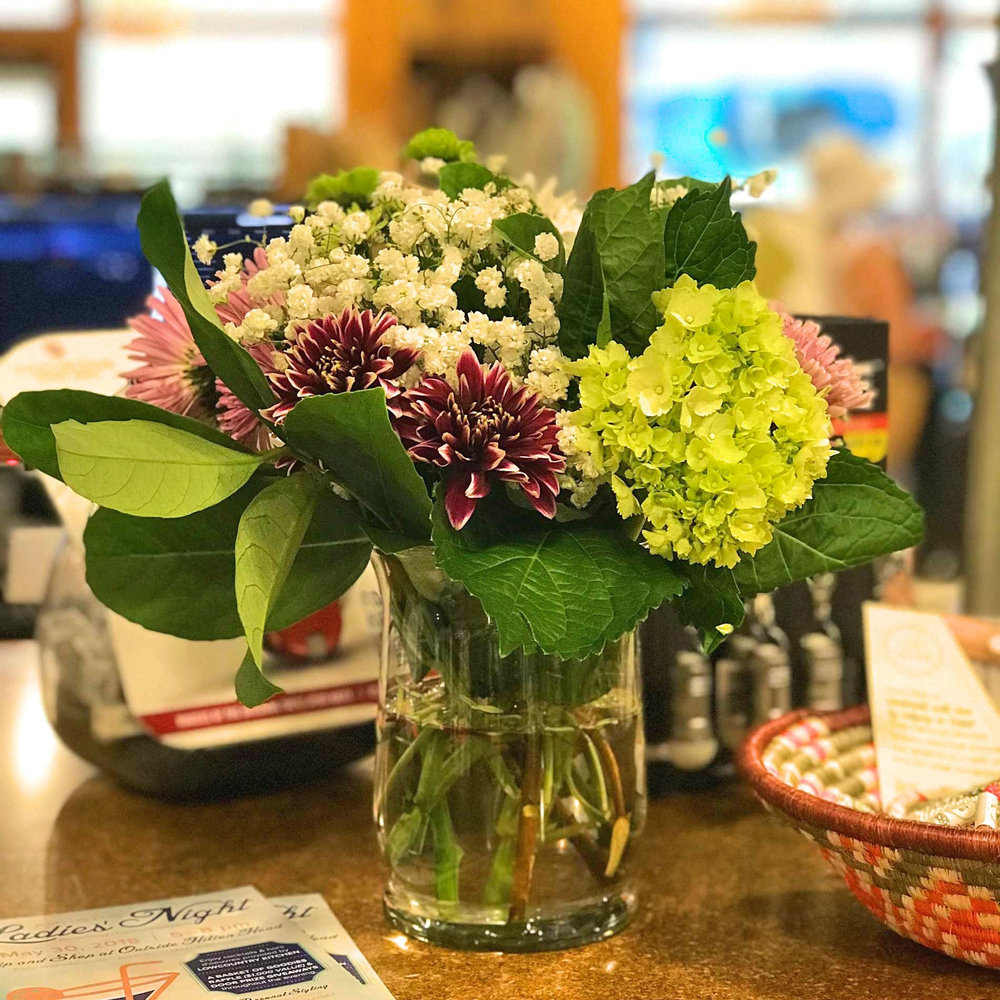Florals at Moreland Artisan Social, Outside Hilton Head, SC.