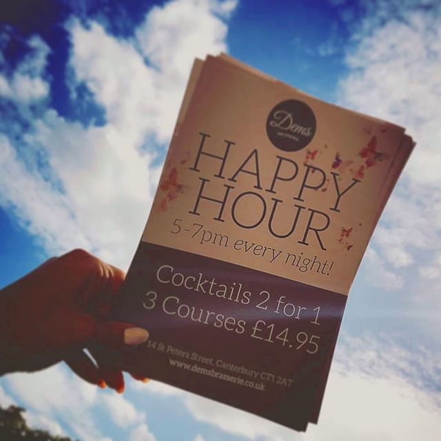 Just looking for somewhere to go for delicious cocktails at a great price? Our happy hours runs 7 days a week! #happyhour • • • • • • • #demscanterbury #dems #canterbury #marlowetheatre #happyhour #241 #cocktails