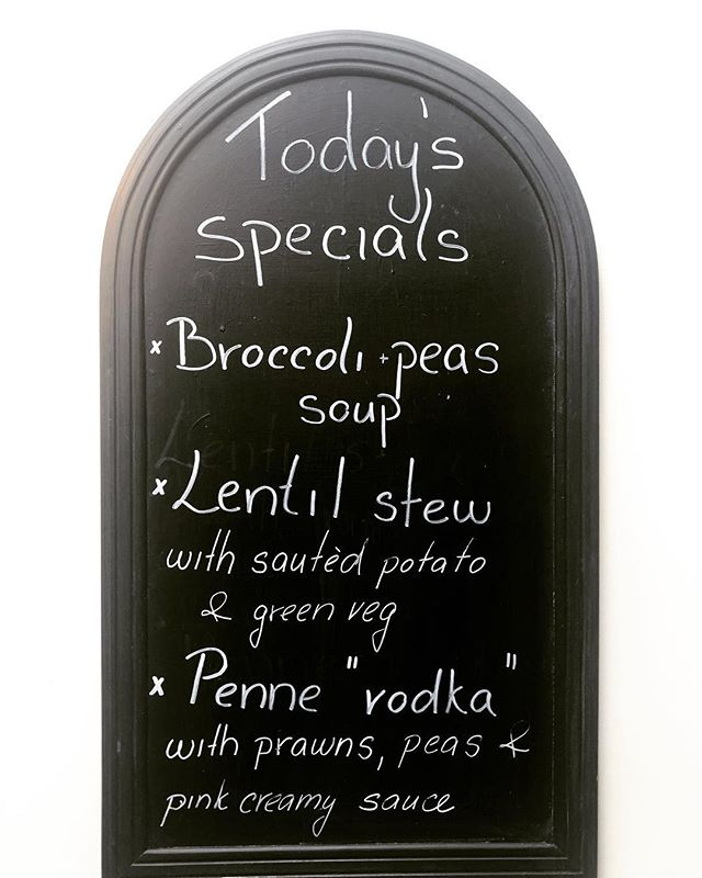 "Check out our specials! ""Penne Vodka"" - you may be wondering what that could possibly taste like! Why not pop in and try it, I'm sure you will LOVE it 😍  Our soup is vegan and also our lentil stew 🌱 • • • • #demscanterbury #kent #canterbury #foodie #veganrecipes #veganfood"