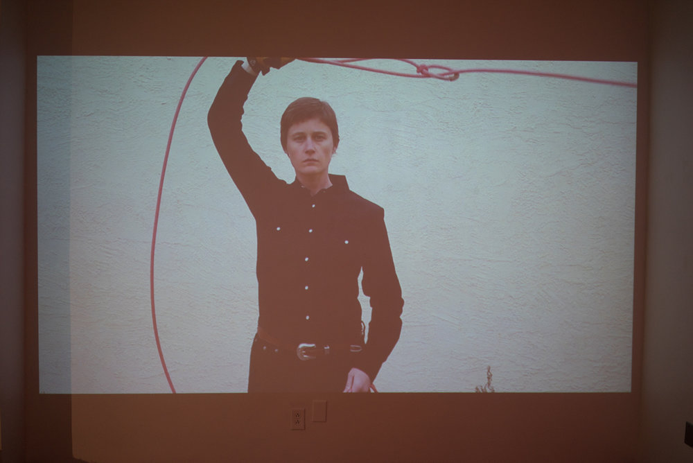 Installation view of video piece  Pink Rope
