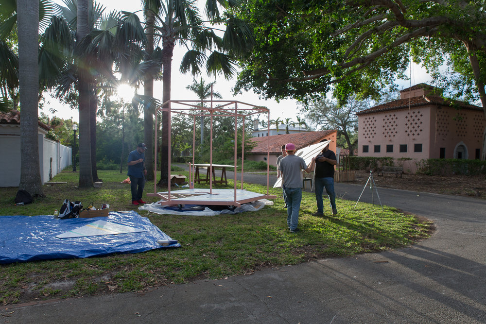 Village Carousel  being constructed on site at Vizcaya Museum and Gardens, in the Village, in December 2017