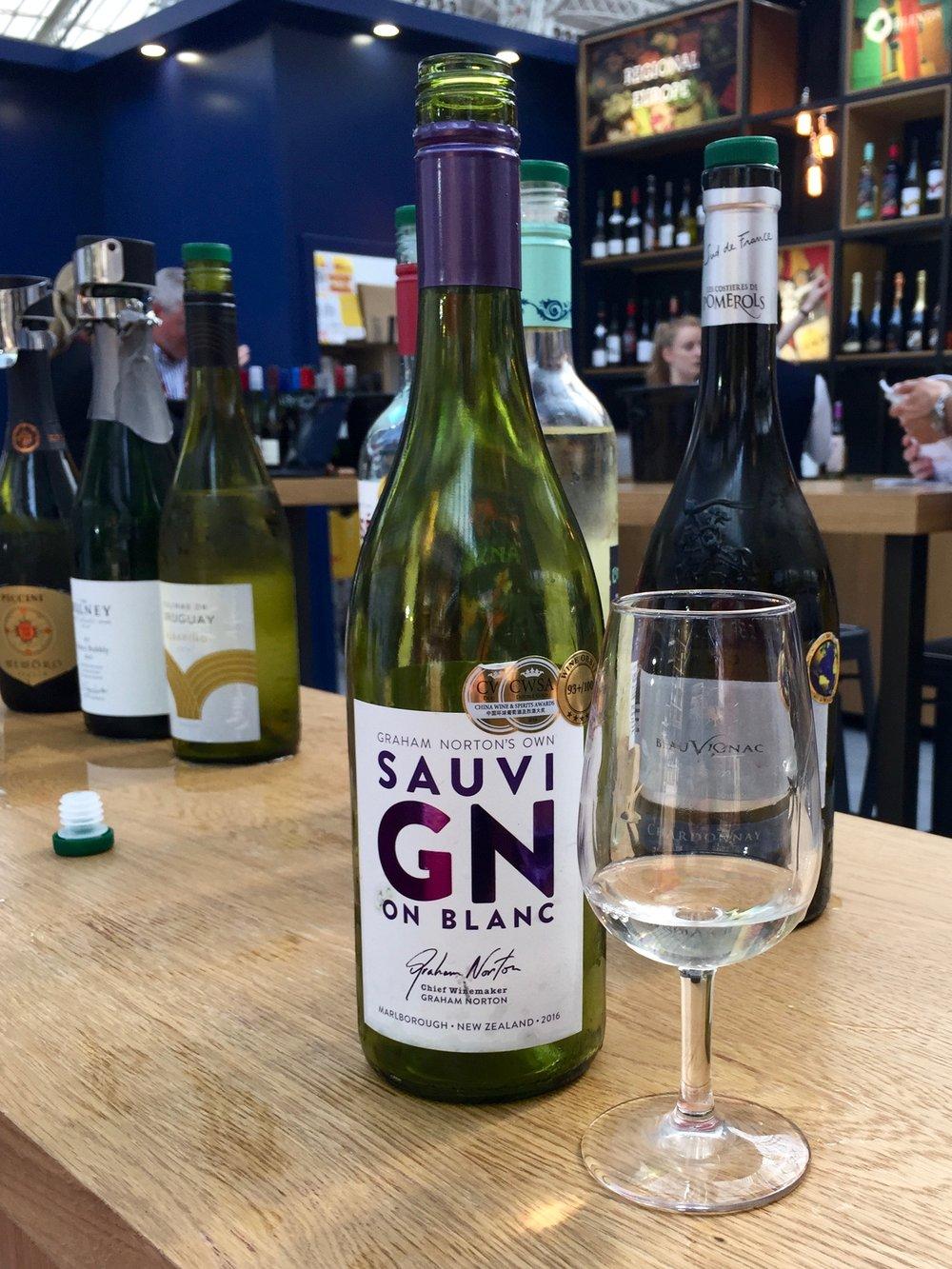 Bottle Bitches drink Graham Norton Sauvignon Blanc at London Wine Fair 2017.jpg