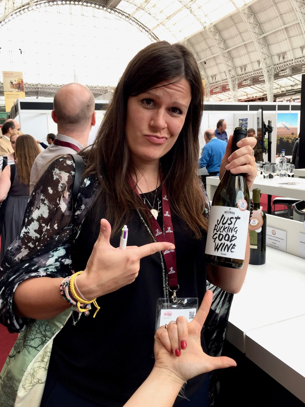 Bottle Bitches - Caro Spinette with a bottle of Just Fucking Good Wine at London Wine Fair 2017.jpg