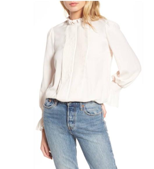 Ivory ruffle blouse