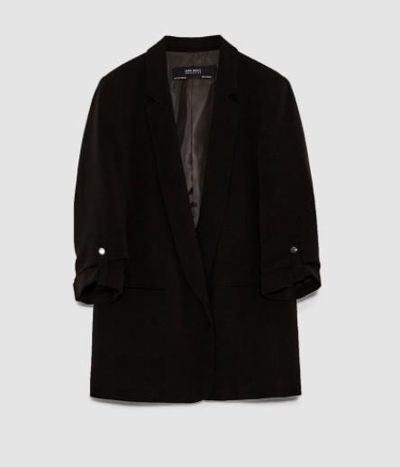 Black Blazer With Sleeve Detail