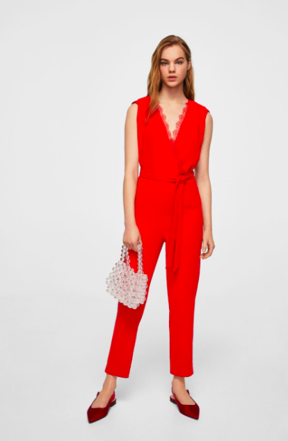 red lace applique jumpsuit