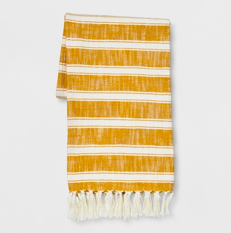 Woven Mustard and Ivory Throw