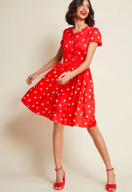 A-Line Dress Red With Sheeps