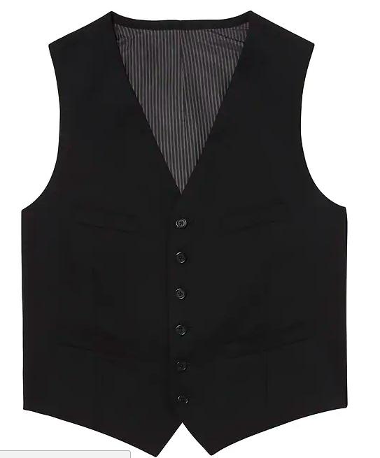 Men's Solid Italian Wool Suit Vest in Black