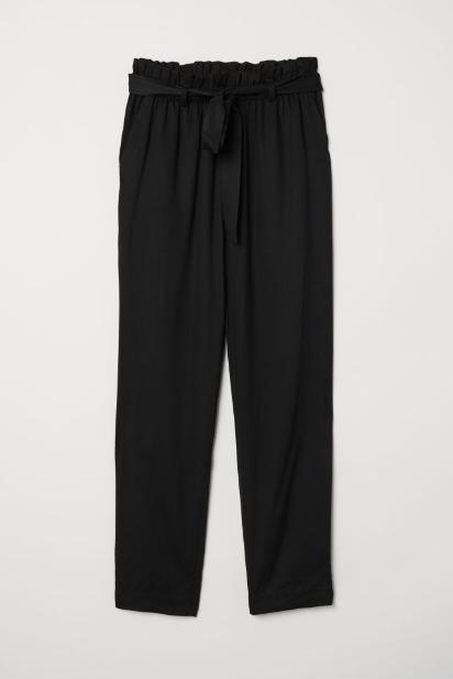 Paper-bag pants in black