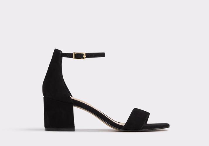 Black Suede Sandal Block Heel