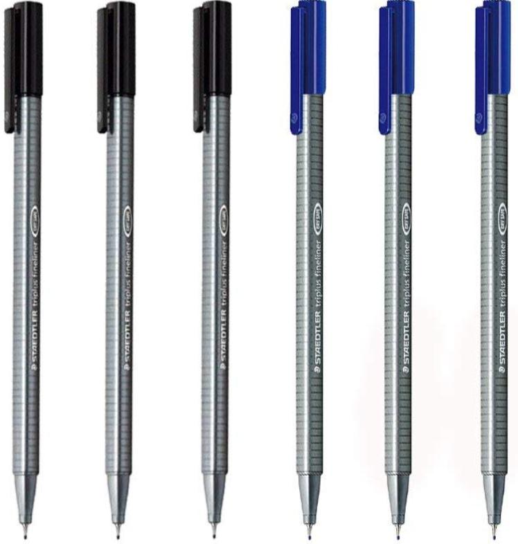 Black and blue fine tip pens