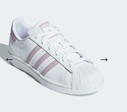 White adidas with pink stripes