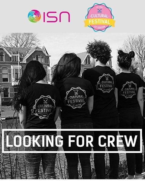 --CREW RECRUITMENT-- Would you like an exclusive access to the biggest international event in Leiden? Are you a foodie who is open to new friendships from all over the world? Then this is the perfect voluntary opportunity for you! ---  Check out our Facebook page for more info.