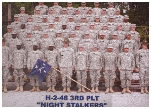 "That's me in front row in the middle with the ""Brown Round"" hat in front of my platoon in Fort Knox, Kentucky in 2009."
