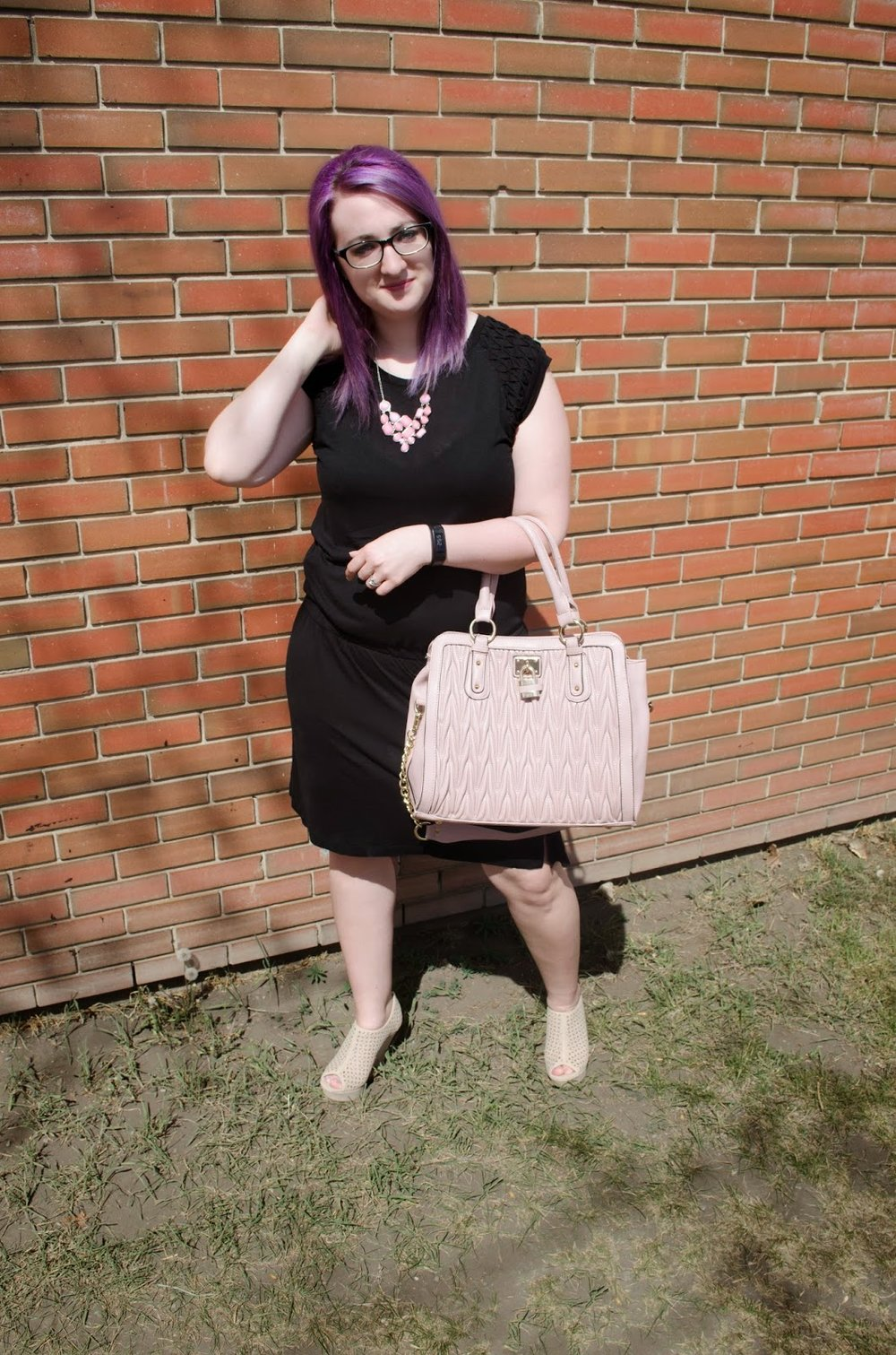 Outfit Post - black dress, coral necklace and almost matching purse
