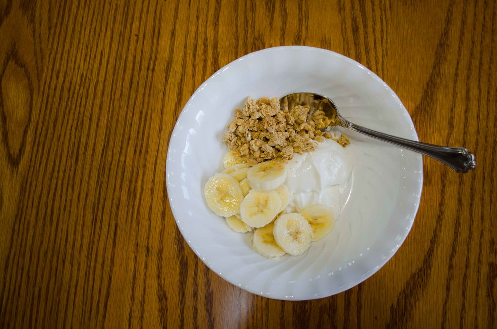 Peanut Butter Granola, Bananas and Greek Yogurt