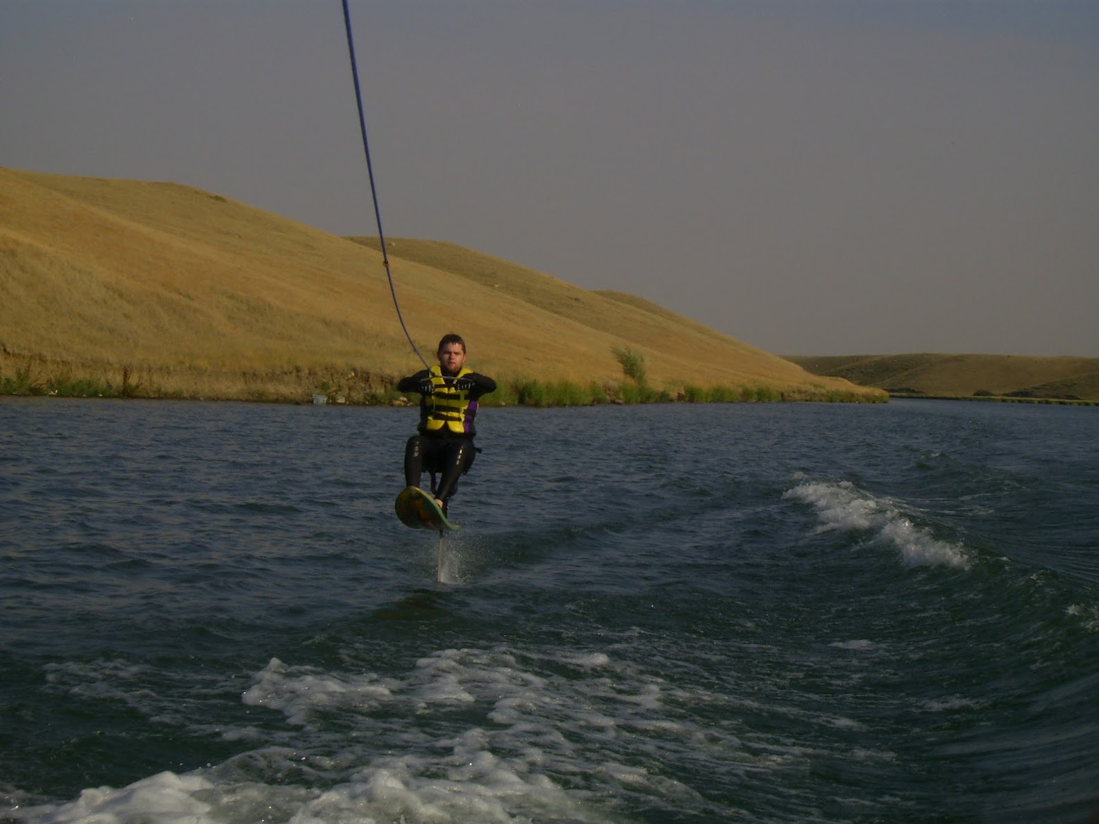 Kevin on the air chair at Stafford Lake