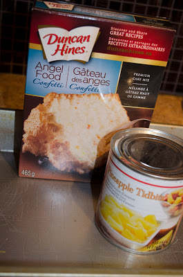 Two Ingredients - A box of Angel Food Cake mix20 ounce can of Crushed Pineapple