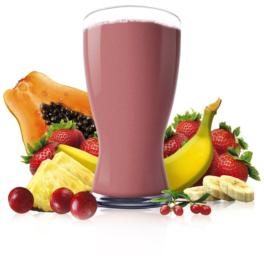 shakeology program shown with blended drink and fresh fruit