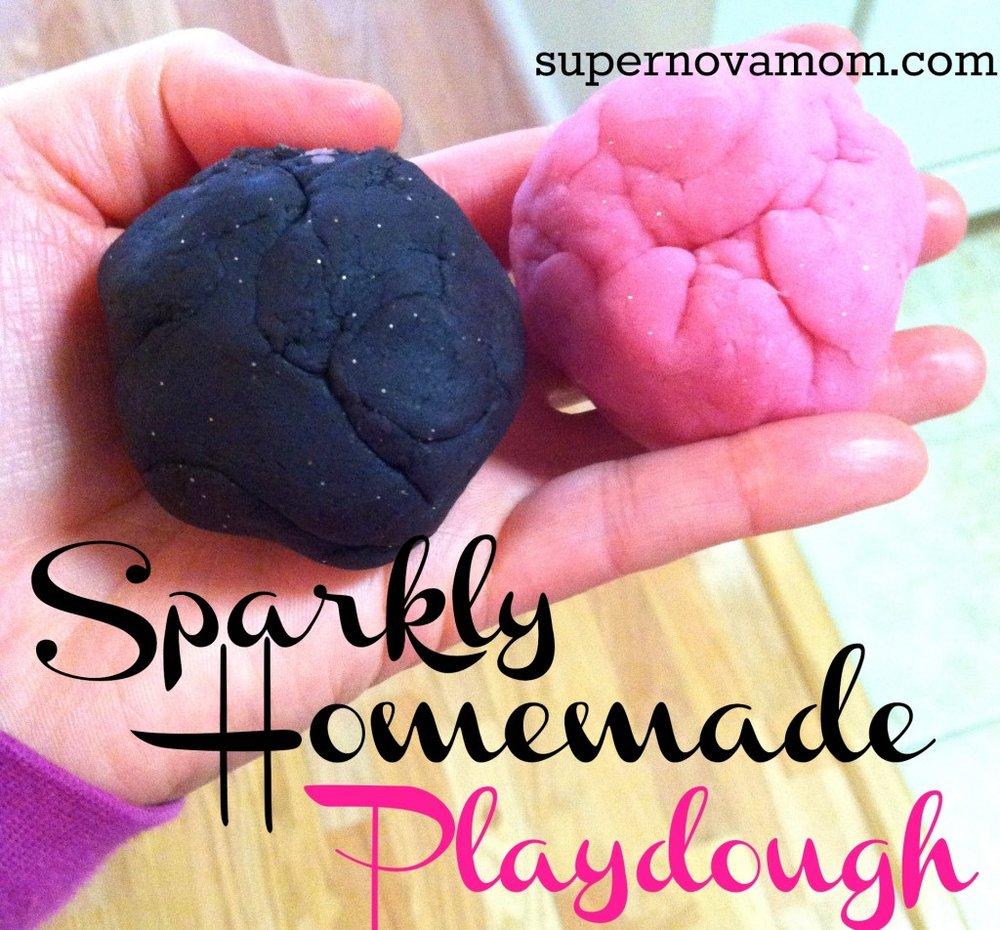 sparkly playdough recipe black with sprinkles