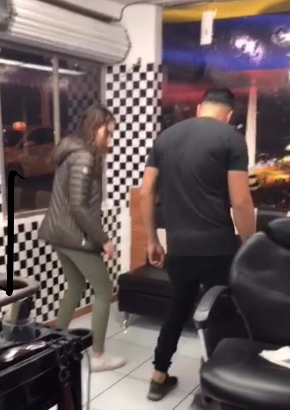 Niki learning the dance (the picture is blurry because it's a video still)