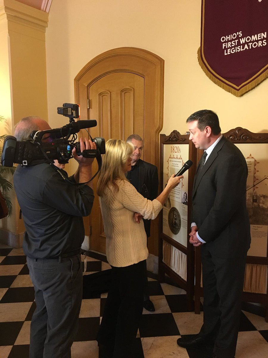 Nate Coffman speaks to the press following the successful vote on HB 123.