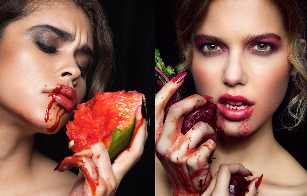 Conceptual Beauty: Hypocrisy of Righteousness, devouring red juicy fruit in a very carnivorous manner.