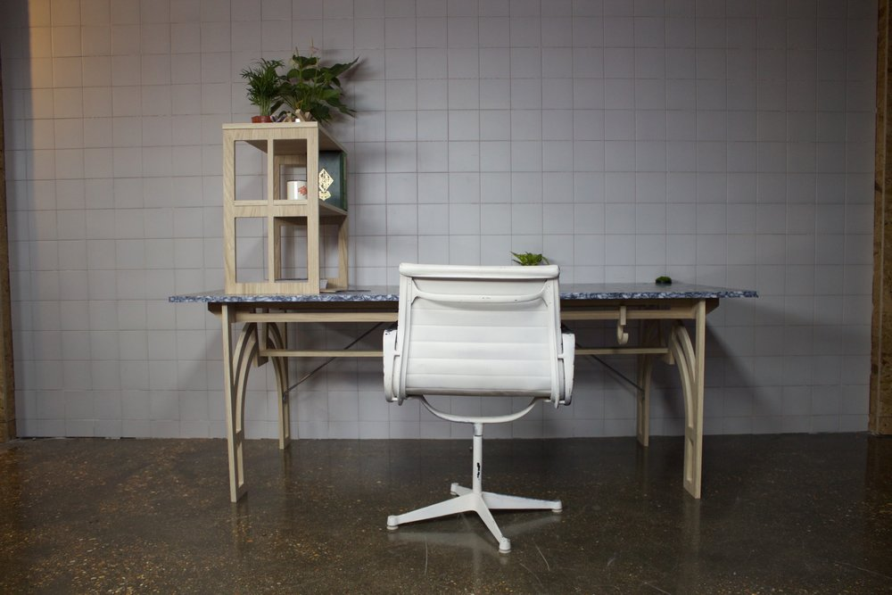 LUSH cosmetics  recycled flat packed desk.