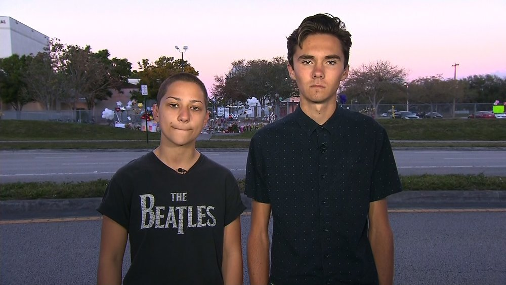 Emma Gonzalez and David Hogg, survivors of the shooting at Marjory Stonemason Douglas High School,