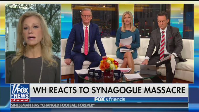 The Queen of Alternative Facts blames comedians for the mass shooting of Jews and the hosts of Fox and Friends agree.