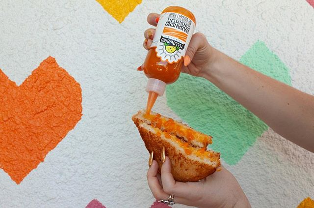 Almost too good to be true...but available at every location. 🧡#grilledcheese and @yellowbirdsauce