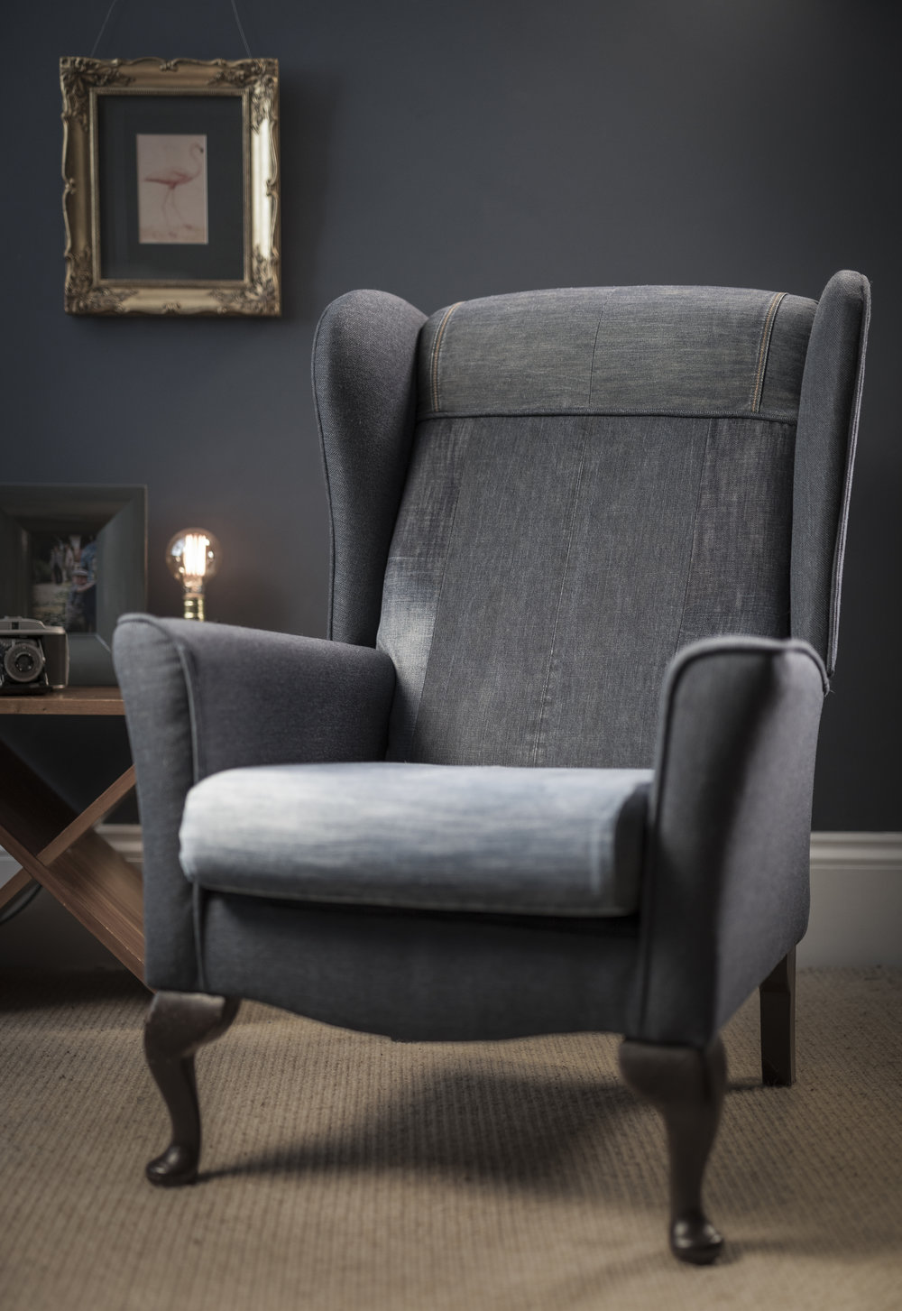 Denim Wingback chair