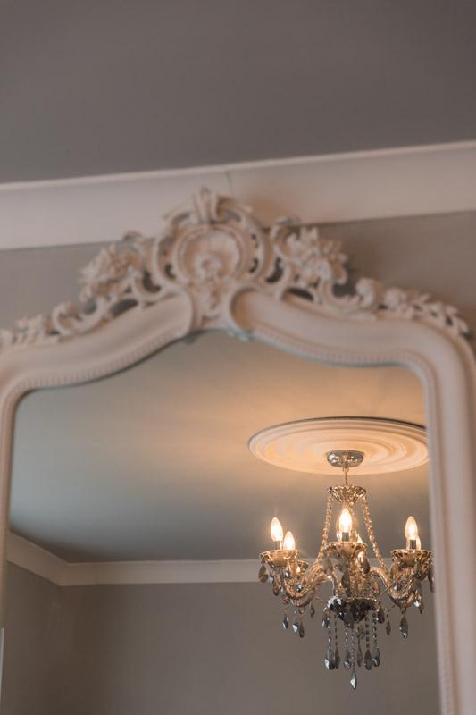 BHS chandelier pavillion gray walls