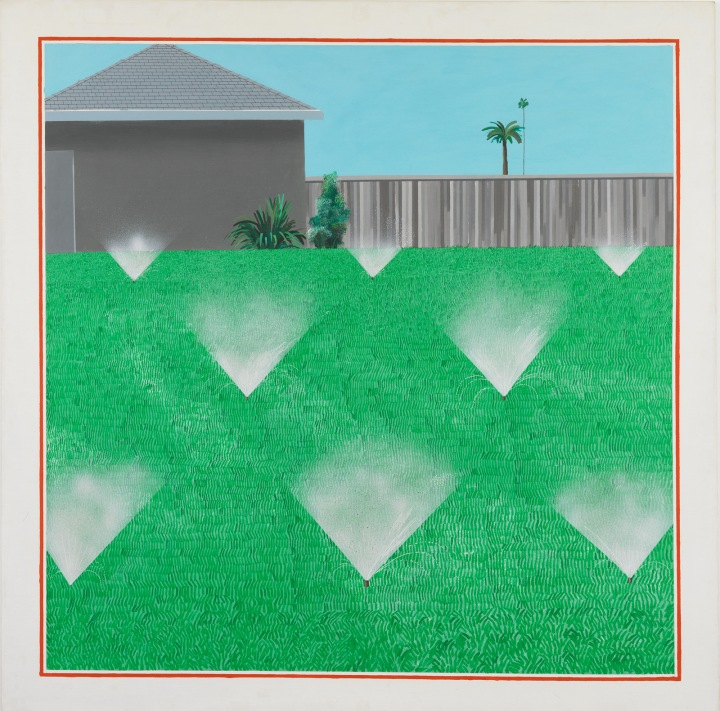 A Lawn Being Sprinkled by David Hockney