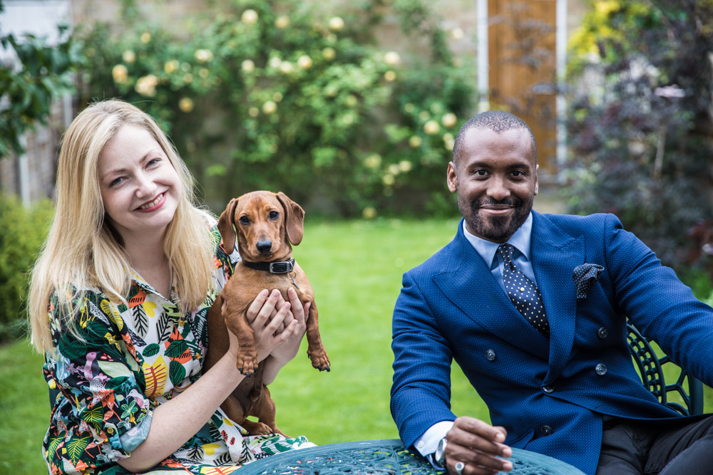 Julian, Miranda and Bertie in the garden