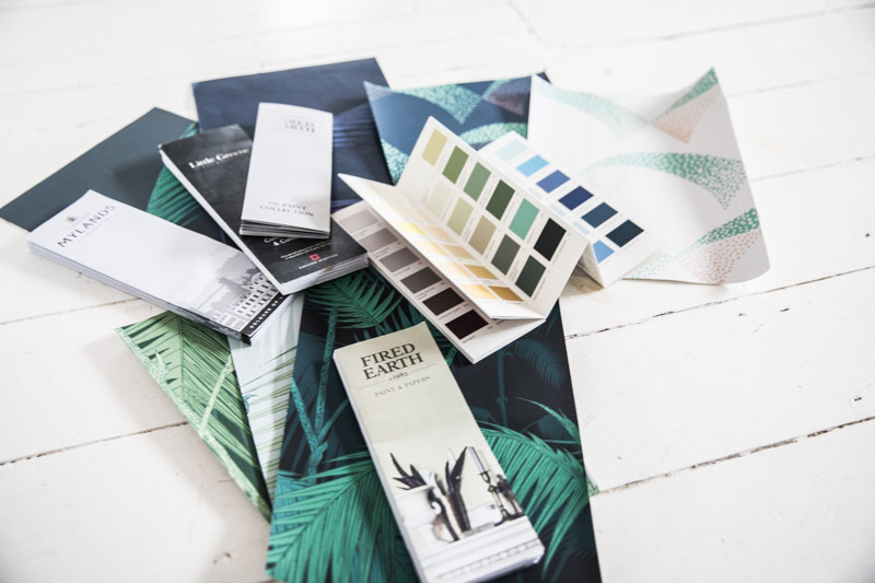 Paint colour cards and wallpaper samples