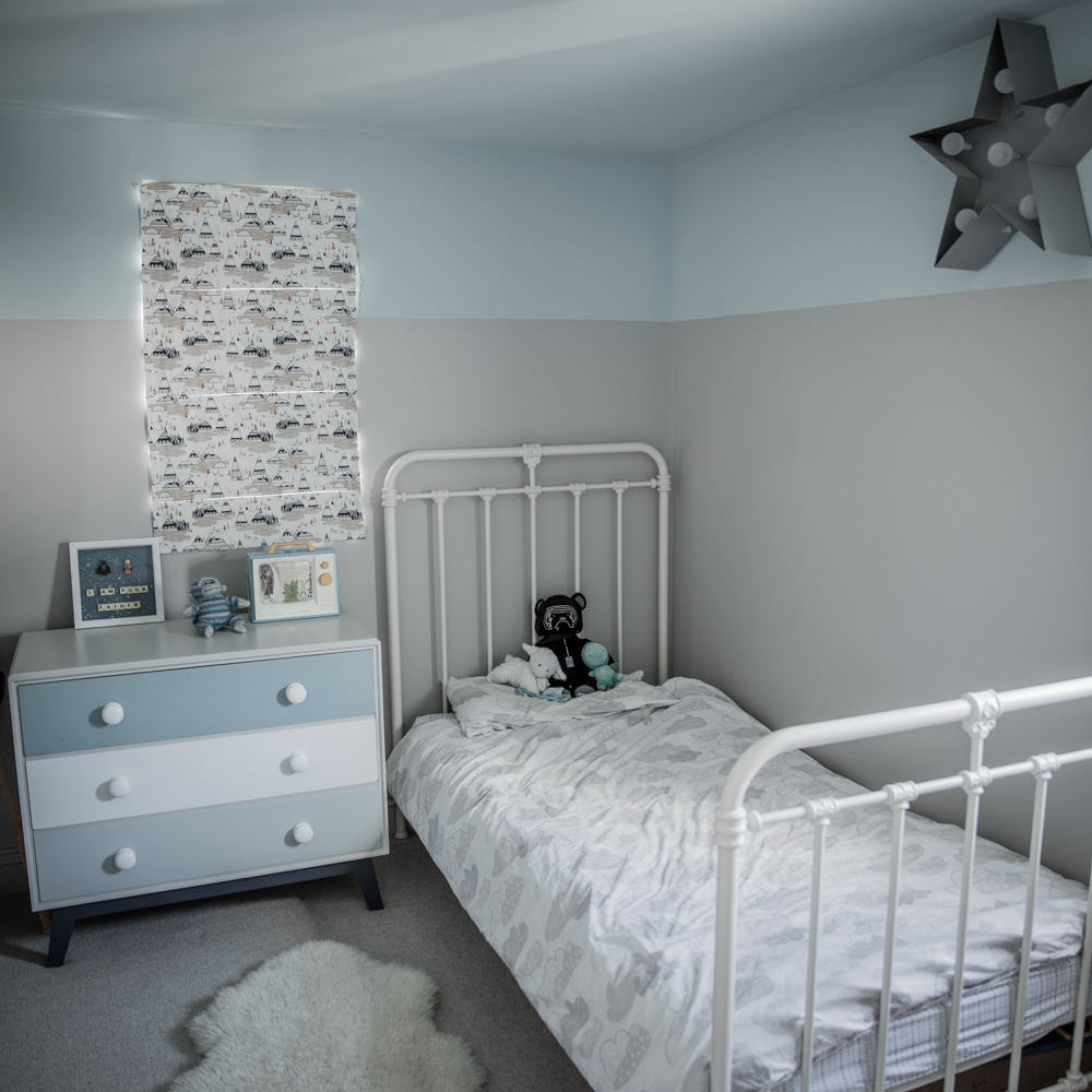 Turquoise and grey kids room