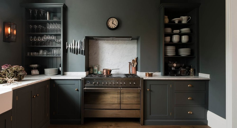 DeVOL's Bloomsbury kitchen is probably the closest to what our kitchen will be like except that we will have cupboards above the worktops rather than open shelving. This is the relaxed feel I desire for the space and this colour is bang on for me. Image credit:  DeVOL Kitchens